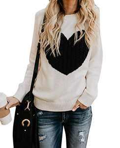 EC ELEGANTCHARM Women's Pullover Sweaters Knitted Long Sleeve Crewneck Heart Patchwork Jumper Cozy Tops Beige