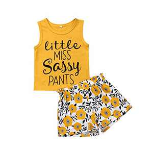 Toddler Kids Baby Girl Sunflower Outfit Sleeveless Letter Vest Top + Floral Shorts Summer Clothing (Yellow, 3-4T)