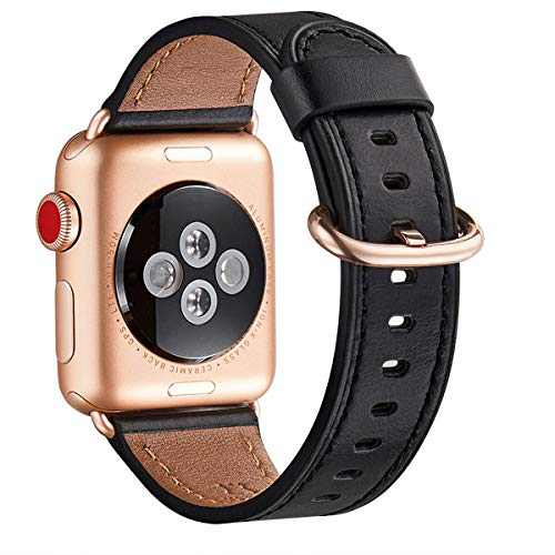 WFEAGL Compatible iWatch band 40mm 38mm, Top Grain Leather Band With Gold Adapter(the Same as Series 5/4/3 With Gold Aluminum Case in Color ) for SE & Series 6/5/4/3/2/1/SE(Black+RoseGold)