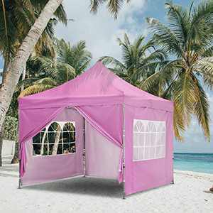 HYD-Parts 10x10 Feet Pop Up Canopy Tent, Instant Folding Shelter with Sidewalls and Roller Bag for Party