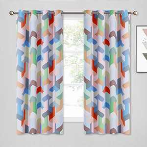 KGORGE Bold Graphics Geometric Cubes Print Curtains, Grommet Room Darkening Window Treatment Panels for Kids Bedroom / Art Gallery ( 52 in Wide x 63 in Long, Set of 2, Bright Colors Collection )