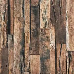 """Reclaimed Wood Contact Paper Rustic Wallpaper Wood Peel and Stick Wallpaper Removable Distressed Faux Wood Plank Wallpaper Self Adhesive Decorative Vinyl Film Shelf Drawer Liner Roll 17.7""""x78.7"""""""