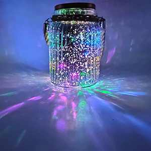 Sogrand Solar Glass Ball Decorations Lantern Jar Lights Table Lamp Quicksilver 4 Color 8 LED Copper Wire Mason Jars Outdoor Tabletop Light Hanging Decorative Lamps for Decor Garden Gift