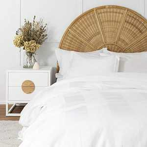 Duvet Cover White Full, Classic Damask Pinstripe Pattern, 100% Long Staple Cotton 400TC with Silky & Luxury Sateen Woven, Cool & Breathable, Luxury Royal Hotel Style Clean Look Duvet Cover
