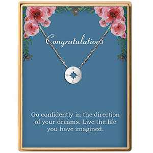 Graduation Gift S925 Sterling Silver Dainty Compass Friendship Necklace Birthday Jewelry For Women