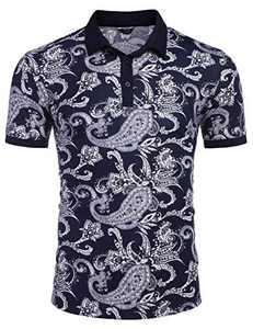 COOFANDY Mens Casual Polo Shirts Sport Golf Tee Floral Print Golf Shirts