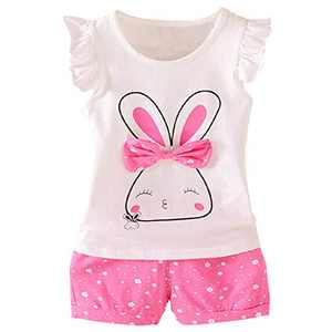 Baby Girl Clothes Rabbit Outfits Short Sets 2 Pieces with T-Shirt + Short Pants(Red, 12-18 Months)