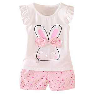 Baby Girl Clothes Rabbit Outfits Short Sets 2 Pieces with T-Shirt + Short Pants(Pink, 18-24 Months)