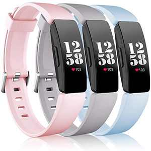 Wepro Bands Compatible Fitbit Inspire HR/Inspire/Inspire 2/Ace 2 for Women Men, Large, Replacement Wristband Sports Strap Band for Fitbit Ace 2 & Inspire Fitness Tracker, Pink Sand, Slate Gray, Aqua