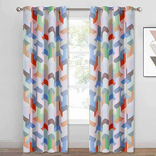 KGORGE Polygon Geometric Room Darkening Curtains, Pop Style Contrast Color Cube Window Drapes for Library/Study/Kids Room (52 inches Wide x 84 Inches Long, 2 Panels, Bright Colors Collection)