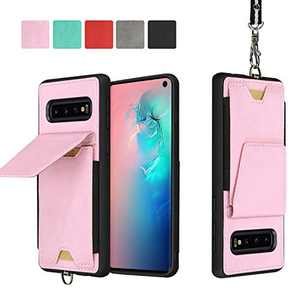 JISON21 Samsung Galaxy S10 Plus Card Holder Case Lanyard Leather Phone Wallet Case with Stand Folio Leather Cases for Samsung Galaxy S10+ 6.4 inch (Pink)