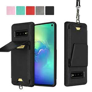 JISON21 Samsung Galaxy S10 Plus Card Holder Case Lanyard Leather Phone Wallet Case with Stand Folio Leather Cases for Samsung Galaxy S10+ 6.4 inch (Black)