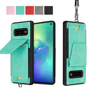 JISON21 Samsung Galaxy S10 Plus Card Holder Case Lanyard Leather Phone Wallet Case with Stand Folio Leather Cases for Samsung Galaxy S10+ 6.4 inch (Green)
