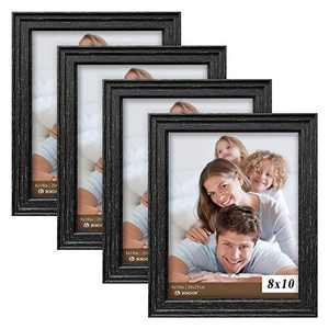 Picture Frames 8x10 Black (set of 4 Pack) - Rustic Farmhouse Wooden Frame - Photo Frame with Polished High Definition Glass for Table Top and Wall Mounting