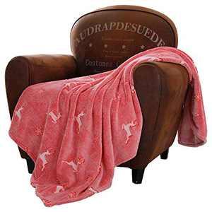 SOCHOW Glow in The Dark Throw Blanket 50 x 60 Inches, Reindeer and Snowflakes Pattern Flannel FleeceBlanket, All Seasons Red Blanket for Kids