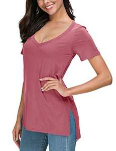 Herou Women Summer Casual Long Sleeve/Short Sleeve Tops T-Shirts Tees with Side Split (2-Rose, Small)
