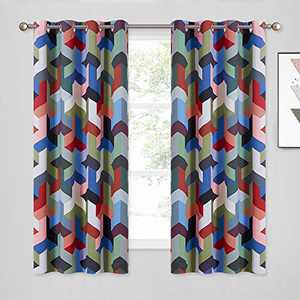 """KGORGE Room Darkening Insulated Print Curtains, Child Nursery Room Window Decor Abstract Geometric Pattern Drapes for Dining/Bedroom (52"""" W x 63"""" L Per Panel, 1 Pair, Deep Color Collection)"""