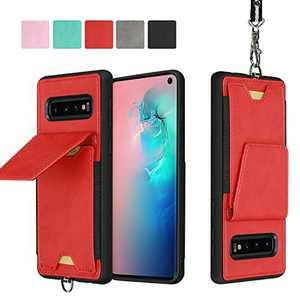 JISON21 Samsung Galaxy S10 Plus Card Holder Case Lanyard Leather Phone Wallet Case with Stand Folio Leather Cases for Samsung Galaxy S10+ 6.4 inch (Red)