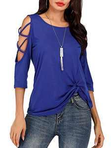 St. Jubileens Women's Casual 3/4 Sleeve Wrap V Neck Chiffon Blouses Tops Shirts (Blue1, (US18-20) XX-Large)