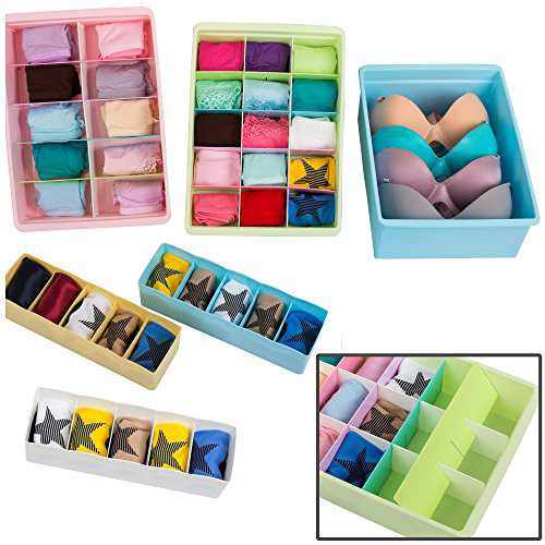 Uncluttered Designs Adjustable Drawer Organizers (6 Set) with Customizable Dividers in Stackable Durable Plastic for Underwear Crafts Baby Clothes Office Bathroom & Under Sink Storage (Multicolor)