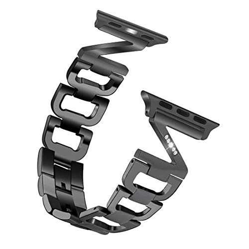 hooroor Bling Bands Compatible Apple Watch Band Series 4/ iWatch Series 3, Series 2, Series 1 for Women Men, ZD-Link Diamond Rhinestone Stainless Steel Metal Wristband Strap (Black, 38 mm 40mm)