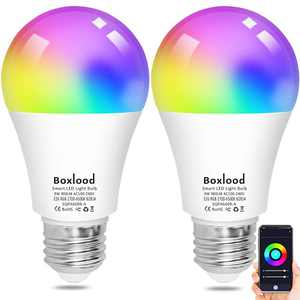 Boxlood Smart Light Bulbs Compatible with Alexa Echo Google Home, 2.4GHz Wi-Fi Bulbs, No Hub Required, Full Color Changing Bulbs, Remote Control & Dimming & Timing, A19 E26 9W 900lm LED Bulbs 2Pack