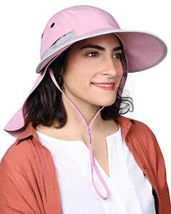 Womens Fishing Hiking Hat 100% Nylon Wide Brim Sun Hat Neck Flap UPF50+ UV Sun Protection Hat
