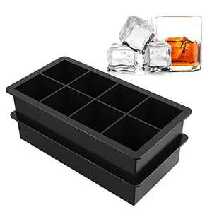 Ice Cube Trays Large Size Silicone Square Ice Cube Molds for making 8 Giant Ice Cubes for Whiskey and Cocktails, Keep Drinks Chilled, Reusable and BPA Free 2 Pack