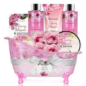 BODY & EARTH Gift Sets for Women - 8pcs Gift Basket with Cherry Blossom & Jasmine Scent - Includes Bubble Bath, Shower Gel, Soap, Body Lotion, Bath Salts, Birthday Gifts for Girlfriend,Mum
