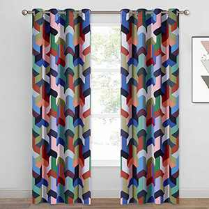 KGORGE Living Room Printed Curtains with Abstract Arrow Pattern for Playroom Room Darkening Thermal Insulated Drapes for Energy Saving (Wide 52 x Long 84 inch, 2 Panels, Deep Color Collection)