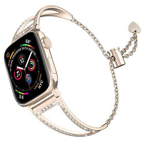 hooroor Bling Bands Compatible with Apple Watch Band 38mm 40mm 42mm 44mm iWatch Series 5/4/3/2/1, Women Dressy Metal Jewelry Bracelet Cuff Bangle Wristband Strap Stainless Steel (Gold, 38mm 40mm)