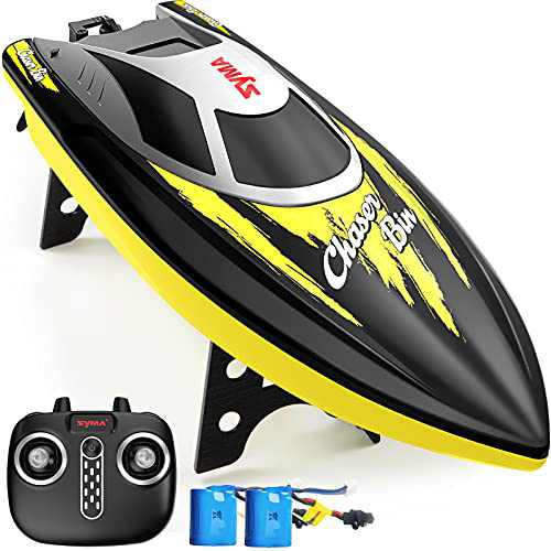 Remote Control Boat, SYMA Q7 RC Boat for Pools and Lakes with 2.4GHz 25km/h High Speed, Capsize Recovery, Low Battery Reminder, Special Water-Cooled System Toys Boat for Kids or Adults(Yellow)