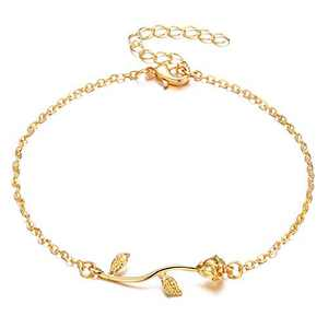Fesciory Women Anklet Adjustable Beach Ankle Chain Gold Alloy Foot Chain Bracelet Jewelry Gift (Rose)