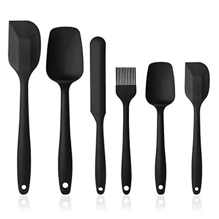 Vicloon Silicone Spatulas Spoons Set, 6Pcs Silicone Kitchen Utensils Including Rubber Spatula, Silicone Basting Pastry Brush, Spoon Set Non-Stick and Heat Resistant for Cooking, Baking and Mixing