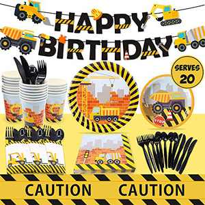 Construction Birthday Party Supplies (Serves 20) - Including Dump Truck Plates, Tablecloth, Cups, Napkins, Black Flatware and Pre-Assembled Happy Birthday Banner Decorations