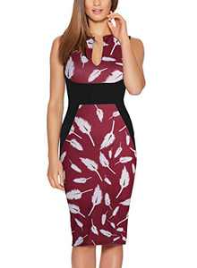 Fantaist Floral Dresses,Optical Illusion Slim Fitted Women Dress for Casual Summer (S, FT601-Burgundy FL)
