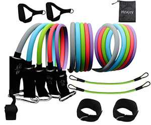 Hzajoy Resistance Bands Set with Handles Exercise Bands Resistance Bands with Door Anchor,Ankle Straps Fitness Workout Bands Men Women Resistance Training Strength Physical Therapy Beginner pro