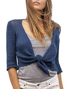 Tutorutor Womens Bolero Sheer Shrug Cardigans Lightweight Cropped 3/4 Short Sleeve Tie Knot Summer Knitted Cover Up Navy