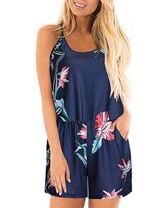 STYLEWORD Womens Summer Floral Spaghetti Strap Short Casual Jumpsuit Rompers(Floral8,L)