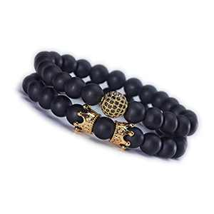 Lenias 2PCS Black Crown Beads Bracelet Set for Men Women Healing Energy Bracelets Handmade Jewelry