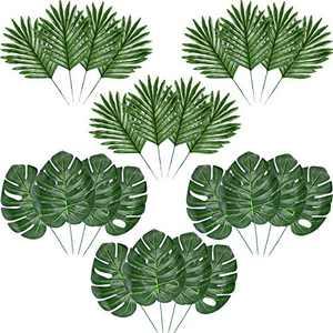 Hicarer Palm Leaves Fake Tropical Leaf Artificial Leaves Decoration Fake Monstera Tropical Leaves (24 Pieces, Color Set 2)