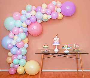 Mixed Sizes – Pastel Balloon Garland Kit & Balloon Arch – Small and Large Macaron Rainbow Balloons – Green, Purple, Yellow, Pink and Blue Balloons – Easter, Spring, Unicorn, & Ice Cream Party Balloons
