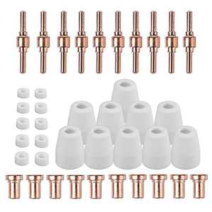 Reboot Plasma Cutter Consumables Kits PT-31 40 PCS Nozzle Electrode Extended Long Tip Shroud Shield Cup for Cut 40/Cut 50 PT31 LG40 40A Cutting Torch (Touch ARC Cutter Consumables)