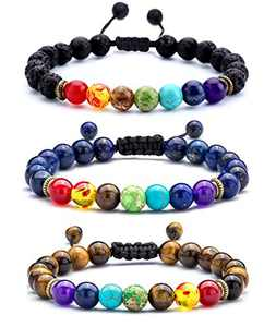 Hamoery Men Women 8mm Lava Rock 7 Chakras Diffuser Bracelet Braided Rope Natural Stone Yoga Beads Bracelet Bangle (3 Pcs Set)