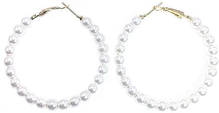 Pearl Hoop Earrings For Girls Women Vintage Boho 2019 Fashion Jewelry Lightweight Big Pearl Beaded Hoop Earrings Hypoallergenic Kpop Gold in Gift Box