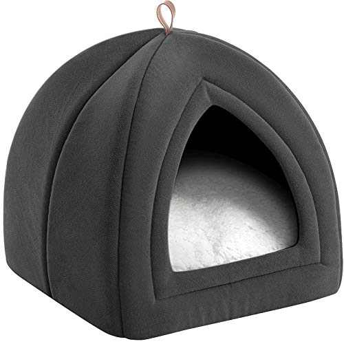 Bedsure Cat Beds for Indoor Cats - Cat Cave Bed Cat House Cat Tent with Removable Washable Cushioned Pillow, Kitten Beds Cat Hut, Small Dog Bed, Dark Grey, 15 inches