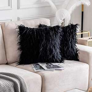 Home Brilliant Throw Pillow Covers Decorative Super Soft Plush Mongolian Faux Fur Cushion Case for Bed, Set of 2 (20 x 20 inch, 50cm, Black)