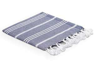 VALOROSA 4-Pack Turkish Hand Towels 23x35 inches 100% Turkish Cotton - Decorative Peshtemal Towel for Hand, Face, Hair, Gym, Yoga, Tea, Guest, Travel, Kitchen, and Bath (Navy)