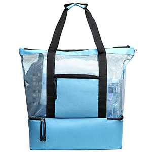 Tang Xiao Bang Mesh Beach Bag Tote Extral Large With, Sky Blue, Size No Size