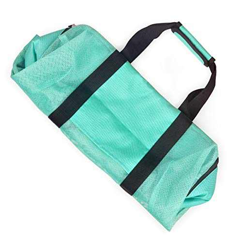 Tang Xiao Bang Mesh Beach Bag Tote Extral Large With Pockets and Top Zipper Travel and Picnic Waterproof Cooler Shoulder Bags (Turquoise)